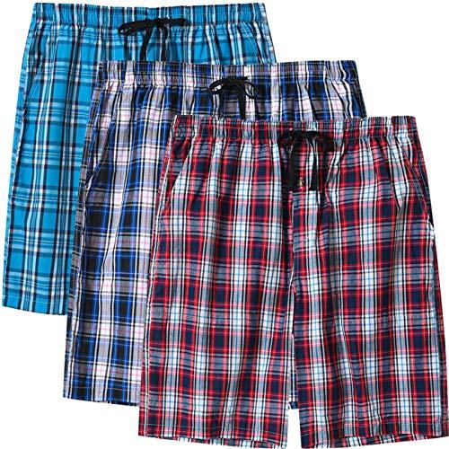 MoFiz Herren Schlafanzughosen Kurz Pyjamahose Karierte Nachtwäsche Komfortable Baumwolle Sleep Shorts 3 Pack M