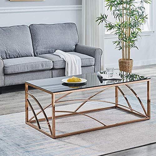 Circular Wohnzimmer Couchtisch Couchtisch aus Glas Edelstahl, rund 50 cm,Rose Gold-Coffee table B