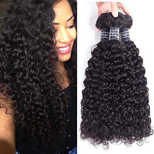 Amella Hair 8A Brazilian Curly Hair Weave 3 Bundles(14 16 18inch,285g) Brazilian Virgin Kinky Curly Human Hair Weave 100% Unprocessed Hair Weft Extensions Natural Black Color