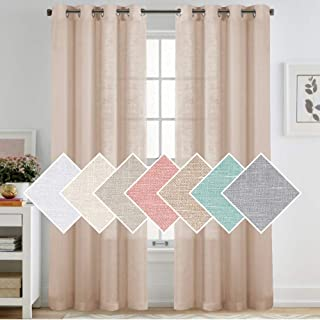 Linen Textured Sheer Curtains for Living Room Soft Rich Linen Privacy Light Filtering Semi Sheer 95 Inches Sliver Grommet Translucent Window Treatment Panels (Natural, 52x95-Inch, 2 Panels)