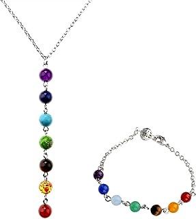 JOVIVI, set di gioielli, bracciale + collana a Y con 7pietre curative chakra, reiki, da donna