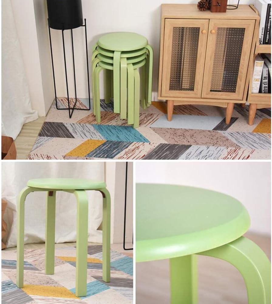 GLJJQMY Tabouret Tabouret Couleur Bonbon Tabouret en Bois Anti-dérapant en Caoutchouc Bois empilable Salon Set de 4 Chaise empilable (Color : Pink) Green