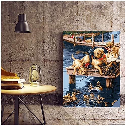 Geiqianjiumai Scandinavische hondenposter en canvas drukfotokeuken modern affichewand Scandinavische decoratie zonder lijst