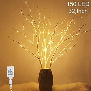 Twinkle Star 150 LED Lighted White Birch Branches 3 Pack Artificial Branches Plug in for Indoor Outdoor Christmas Wedding Party Home Decoration (Vase Excluded)