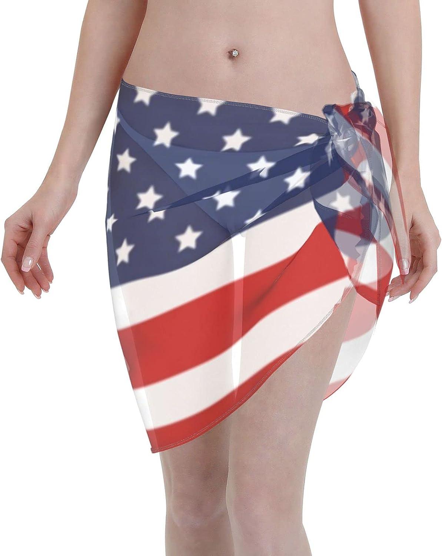 Laiputer USA Patriotic Flag Summer Women Short Beach Sarongs Sheer Cover Ups Chiffon Bikini Wrap Skirt for Swimwear