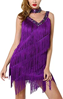 Women Deep V Neck Sexy Party Dress, Ladies Solid Sleeveless Fringed Skirt Dance Dress