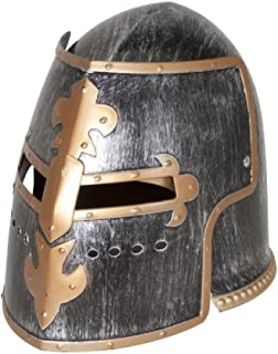 Nicky Bigs Novelties Medieval Knight Helmet Costume Headwear Accessory, Pewter, One Size