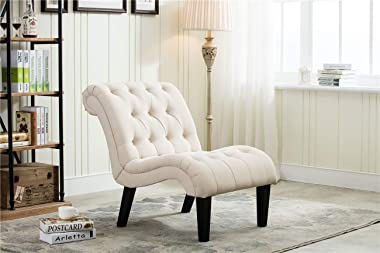 Yongqiang Set of 2 Accent Chair for Living Room Bedroom Upholstered Tufted Curved Backrest Casual Fabric Chairs with Wood Leg