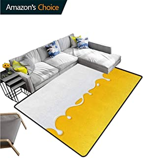 Yellow and White Sports Area Rugs for Bedroom, Dripping White Milk Cream Paint Yogurt on Yellow Honey Background Print, Fashionable High Class Living Bedroom Rugs(8'x 10') Yellow White