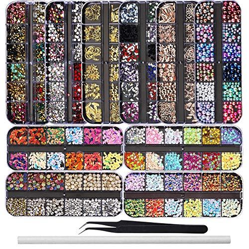Ebanku 10 Cajas Piedras para Uñas decoración, Colorido Kit de Diamantes de Imitación de Uñas Adornos Cristales Rhinestones Diamonds Beads con 1 Pinzas y 1 Bolígrafos de Cera para Arte de Uñas Gel