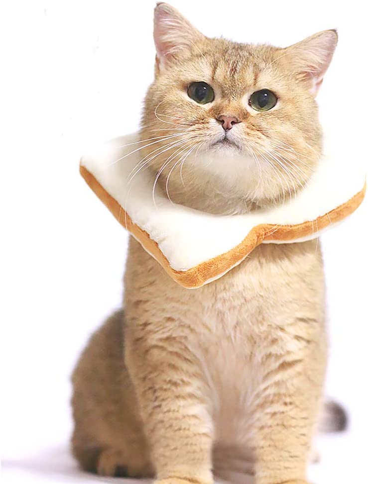 Adnikia Creative Soft Bread Slice Collar for Cat, Toast Bread-Shaped Cat Headdress, Pet Cat Cosplay Makeup Cap, Pet Cartoon Costume, Cat Dressing Up Props, Toast Shape Pet Headgear