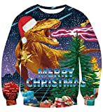 UNIFACO Men Women Merry Christmas Sweater Dinosaur Fire Boxes Funny Print Hoodies Long Sleeve Sweatshirt