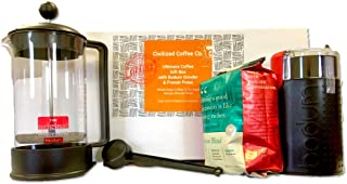 Civilized Coffee Ultimate Coffee Gift Box with Coffee Grinder, French Press and Kenyan Whole Bean Coffee