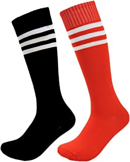 Fasoar Unisex High Colorful Striped Stretch Football Sports Boot Hosiery Soccer SocksPack of 2 Black Red  Black Red  One Size