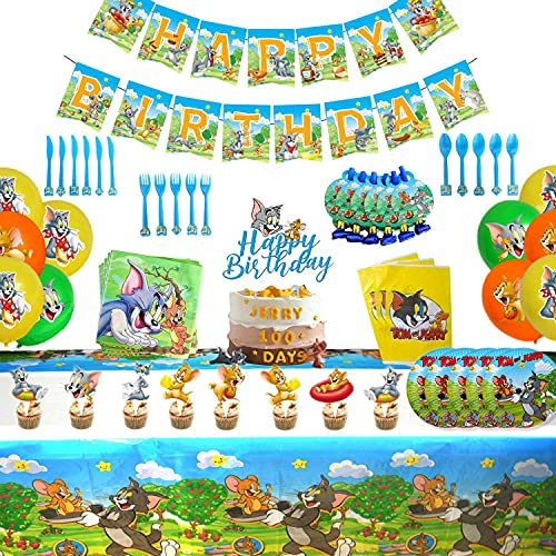 139PCS Tom and Jerry Theme Birthday Party Supplies and Decorations for Girls and Boys Includes Banner Plates Tablecloth Favor Bags Balloons Decor for Kids