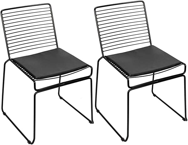 MuLuo 2pcs Simple Nordic Style 12mm Steel Wire Chair With Cushions For Restaurants Pubs Cafes