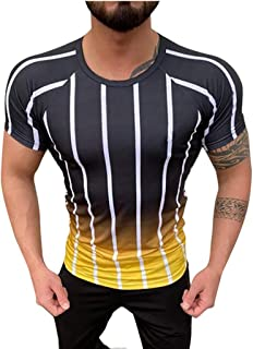 Men's Short Sleeve T-Shirt Gradient Striped Printed Slim Fit Casual Shirts Summer Fashion Comfortable Blouse Tunic Tees