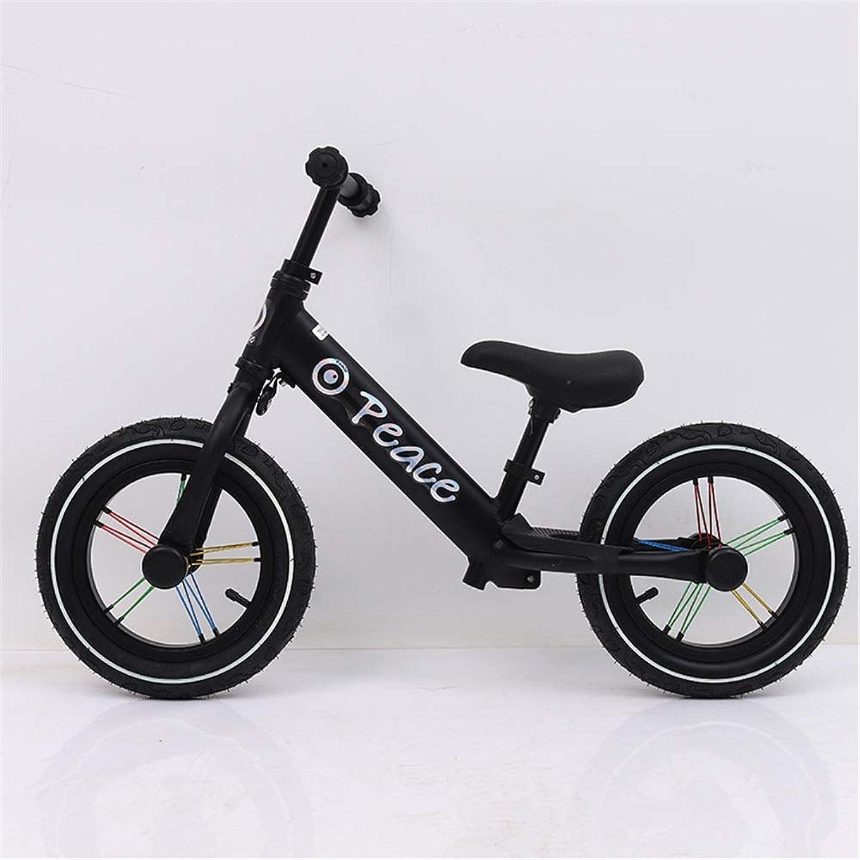 バランスバイク 子供のためのバランスバイク軽量スポーツ12インチ調整可能なハンドルバーと座席幼児のあるペダル自転車なし年齢2?7歳のための自転車の歩行 子供の自転車 (色 : ブラック, サイズ : 12 inches)