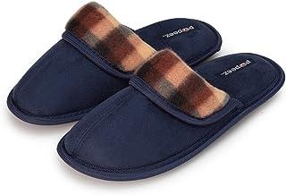 Pupeez Boys Scuff Slipper Plaid Trim;Kids Classic Ultra Soft Comfort House Shoes
