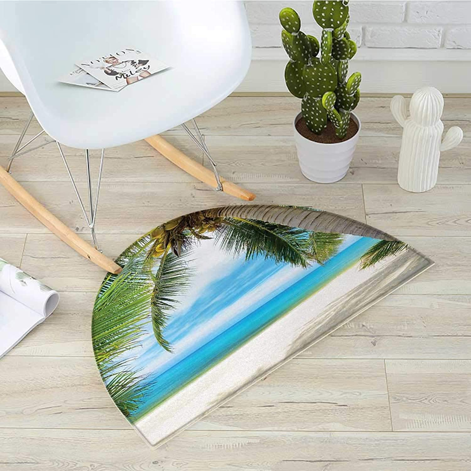 Ocean Half Round Door mats Shadow Shade of a Coconut Palm Tree on White Sandy Seashore Image Bathroom Mat H 35.4  xD 53.1  Light Green Light bluee White