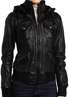 Women's Detachable Hooded Lambskin Leather Bomber Jacket