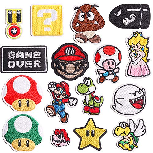 Decorative Patches,16pcs Iron On Patches for Clothing, Embroidered Sew On Super Cute Cartoon Anime Patches for Kids Jackets, Shirts, Backpacks