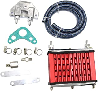JINGKE Oil Cooler Mounting kit Universal For 50cc 70cc 90cc 110cc 125cc Dirt Pit Bike Cooling Radiator (red)