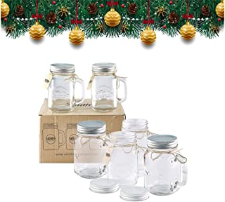 Smith's Mason Jars 6 x 16oz (pint jars) Mason Jar Mugs with screw top lids with rubber seal, making air tight drinking glasses ideal for making overnight oats. With gift and present tags