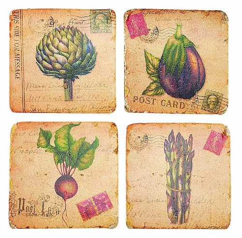 Manual Woodworkers and Weavers Vintage Veggies Coasters, 4 by 4-Inch, Set of 4