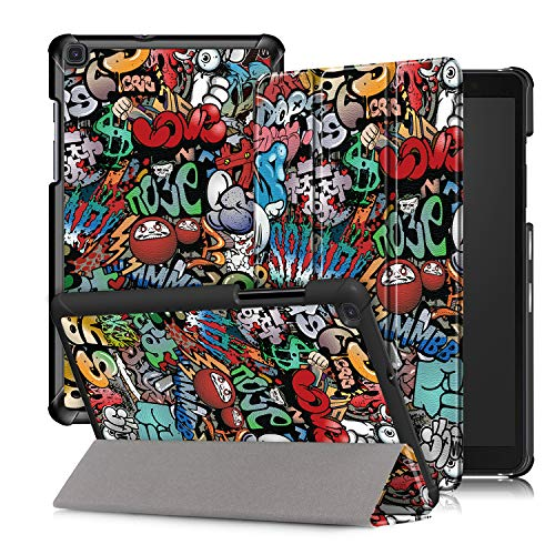 Xuanbeier Ultra Delgado Funda Compatible con Samsung Galaxy Tab a SM-T290/T295 8.0 Pulgadas 2019,Graffiti