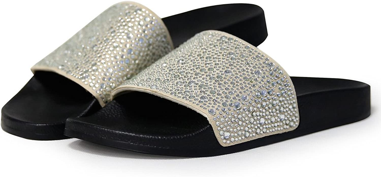 ALOTUS Women Bling Flat Slide Sandals Slipper for Summer Black gold color