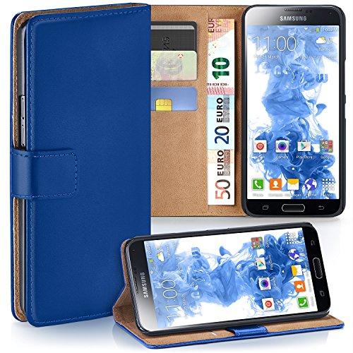 MoEx Premium Book-Case Handytasche passend für Samsung Galaxy S5 Mini | Handyhülle mit Kartenfach und Ständer - 360 Grad Schutz Handy Tasche, Dunkel-Blau