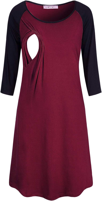 JOYMOM Womens 3 4 Sleeve Cotton Nightgowns Maternity Breastfeeding Nightshirts