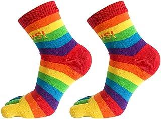 JERKKY Calcetines 1 par de Mujeres Divertidas Cinco Dedos de los pies Calcetines de algodón Tobillo Arco Iris Rayas Coloridas Imprimir Medias Medias #