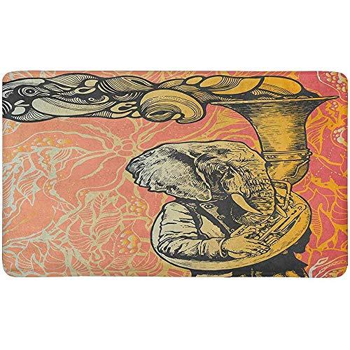 jonycm Doormat Elefant Trompete Auf Blumen Hintergrund Latex rutschfeste Türmatte Eingang Teppich 40X60Cm Indoor Outdoor Küche Fußmatte Personalisierte Wohnkultur