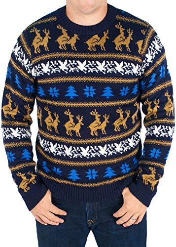 Festified Men's Retro Humping Reindeer Sweater (Blue) - Ugly Christmas Sweater (3X-Large)
