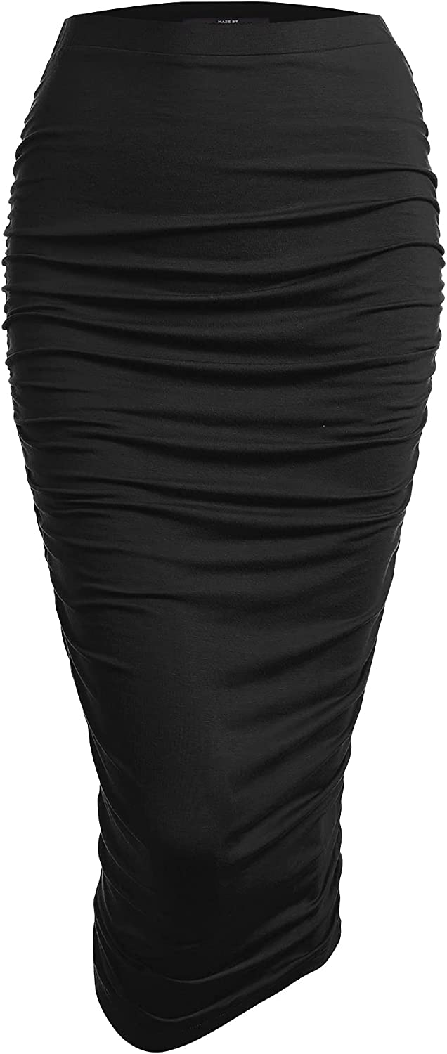 Regular discount Made By Johnny Women's High mart Waist Ruched Slim Frill Bodycon Fit