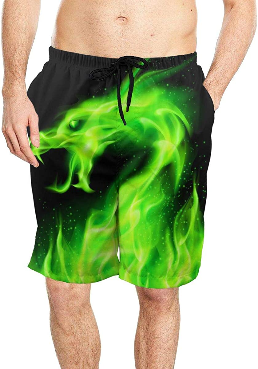 Fire Head of Dragon Mens Quick Dry Beach Board Shorts Swim Trunks with Mesh Lining