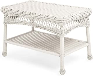 Plow & Hearth 39006-BWH Easy Care Outdoor Resin Wicker Coffee Table, 29.5