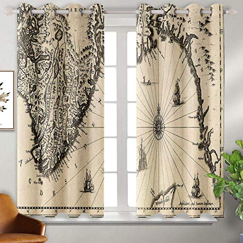 Wanderlust Decor Collection blackout curtains for bedroom Ancient Map of Southern Part of the Norway Vikings World Old Scandinavian Lands Print Thermal Insulated Blackout Patio Door Curtain Panel W63