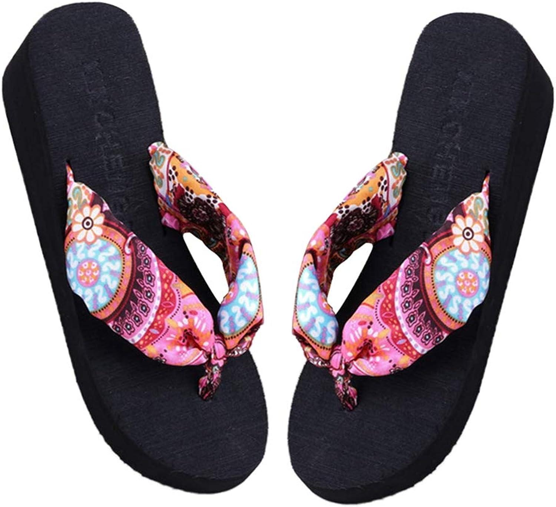 T-JULY Women Summer New Soft Wedge Sandals Bohemia Beach Flip Flops Flat Platform Slippers