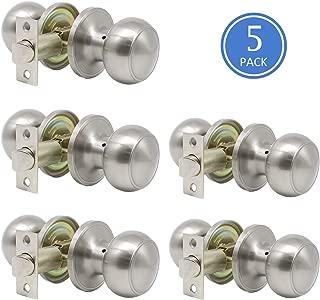 Door Knob Set of 5 Pack Passage Door Lock Brushed Nickel Interior Keyless Flat Door Knobs Handles Locksets