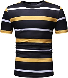 Howely Mens Short-Sleeve Silm Fit Contrast Color Stripes Printed Crew Neck T-Shirt