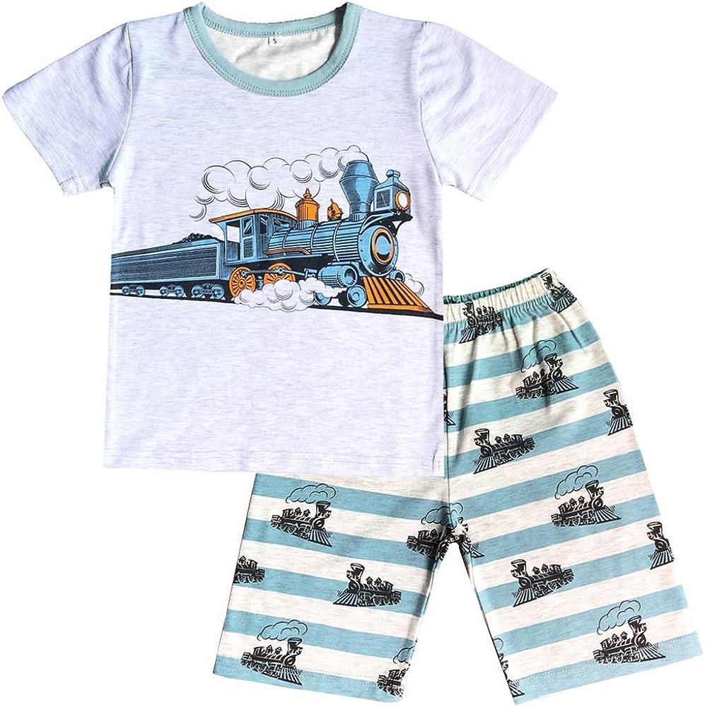 Little Boys Pajamas Short Set for Toddler Summer Clothes Dinosaur Planet Sleepwear Cotton 2 Piece Kids Pjs Size 1-10 Years