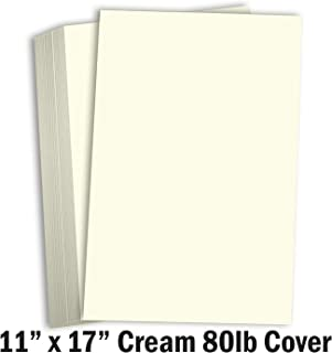 Hamilco Cream Cardstock 11x17 Paper Heavy Weight 80 lb Cover Card Stock - 50 Pack