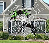 "AMENON Halloween Outdoor Decorations, 12 Feet Halloween Round Spider Web with 2 Large Spider (19.7""/11.8"") Realistic Looking Hairy Spider White Cobweb for Halloween Yard Window Garden Decor"