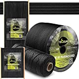 Teceum Paracord Type III 550 Black – 100 ft – 4mm – 100% Nylon Tactical Rope MIL-SPEC – Outdoor para Cord –Camping Hiking Fishing Gear and Equipment – EDC Parachute Cord – Strong Survival Rope 016