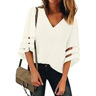LookbookStore Women's V Neck Mesh Panel Blouse 3/4 Bell Sleeve Loose Top Shirt