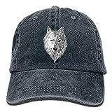 Hoswee Unisex Kappe/Baseballkappe, Big Wolf Head Denim Baseball Caps Hat Adjustable Cotton Sport Strap Cap for Men Women