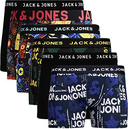 JACK & JONES Boxershorts 6er Pack Herren Trunks Shorts Baumwoll Mix Unterhose (M - 6er, Mehrfarbig Bunt @4)
